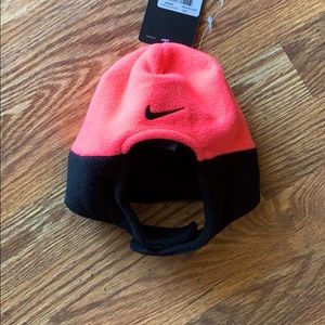 Nike hot pink & black infant snow hat.with velcro